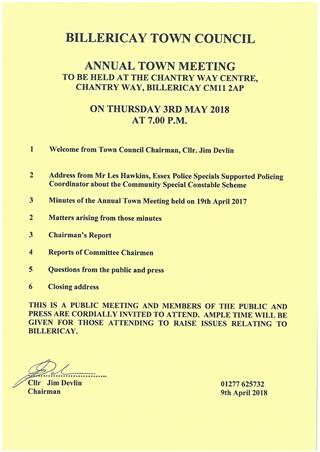 Annual Town Meeting agenda 3 May