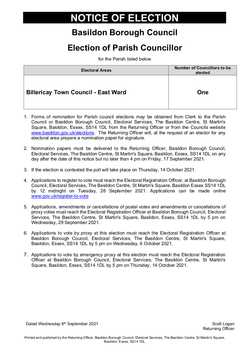 Notice of Election 6 May 2021