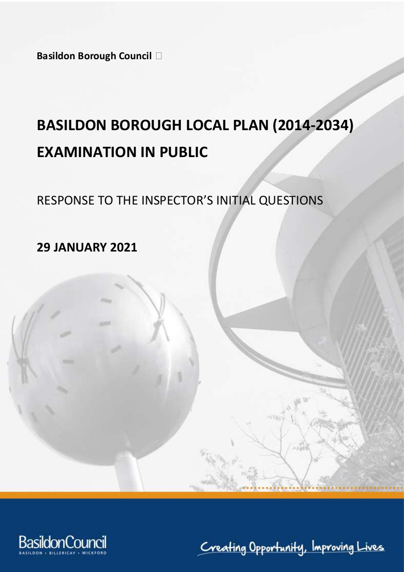 Front page of Basildon response to planning inspectors questions